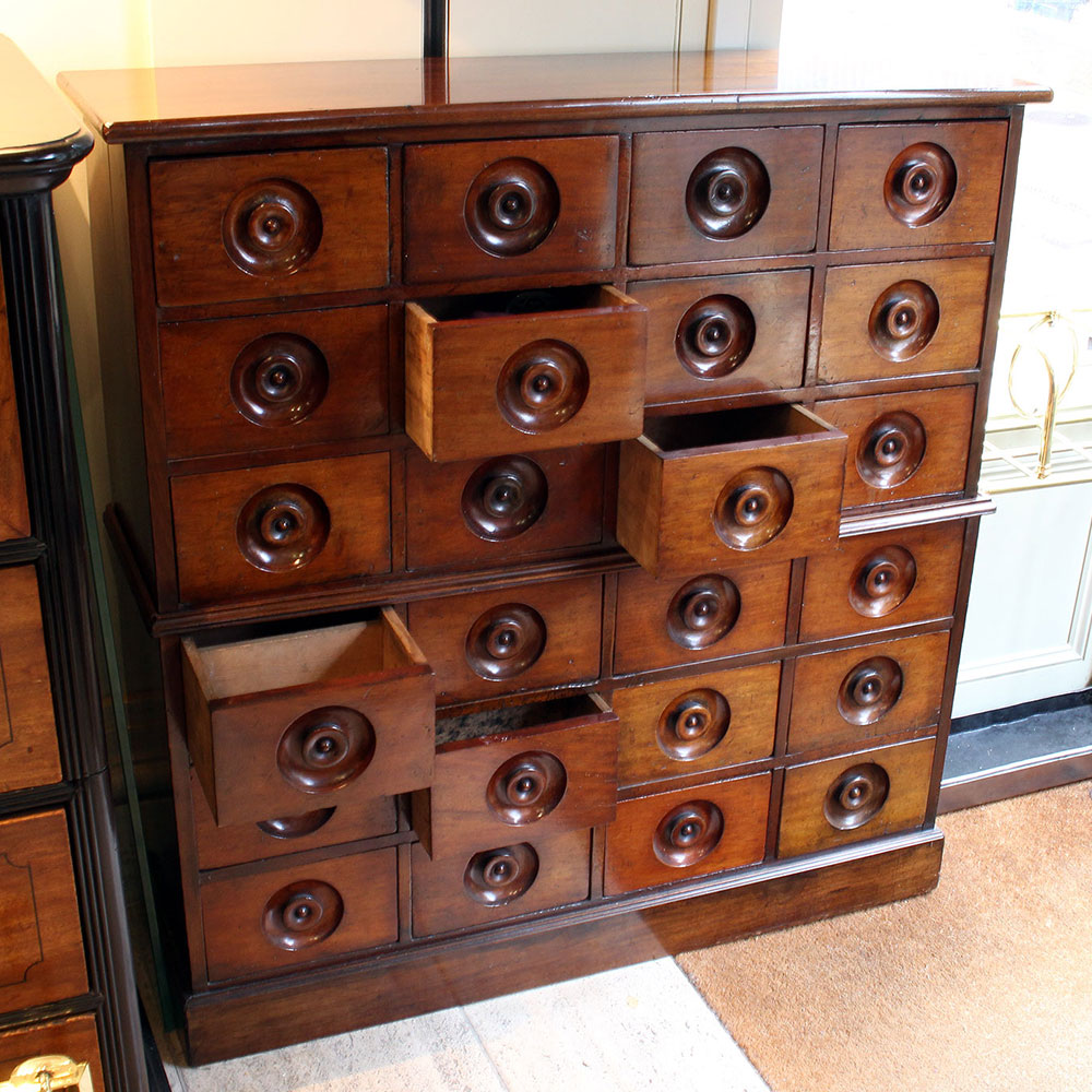 Antique Mahogany Bank of Grocers Drawers in Two Sections