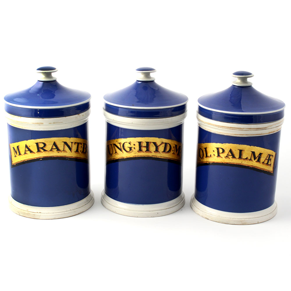 Antique Set of Three Blue and White Ceramic Apothecary Jars