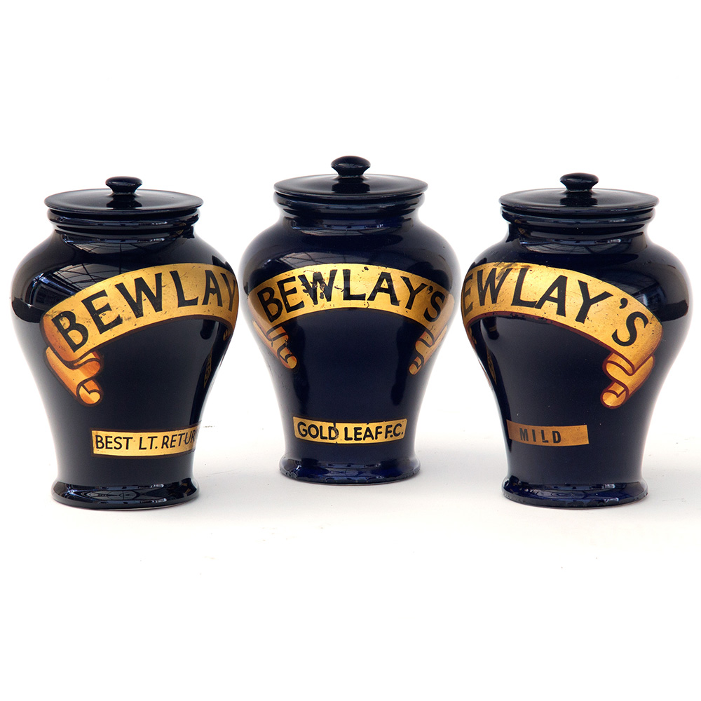 Set of Three Cobalt Blue Bewlay Tobacconists Jars c.1900