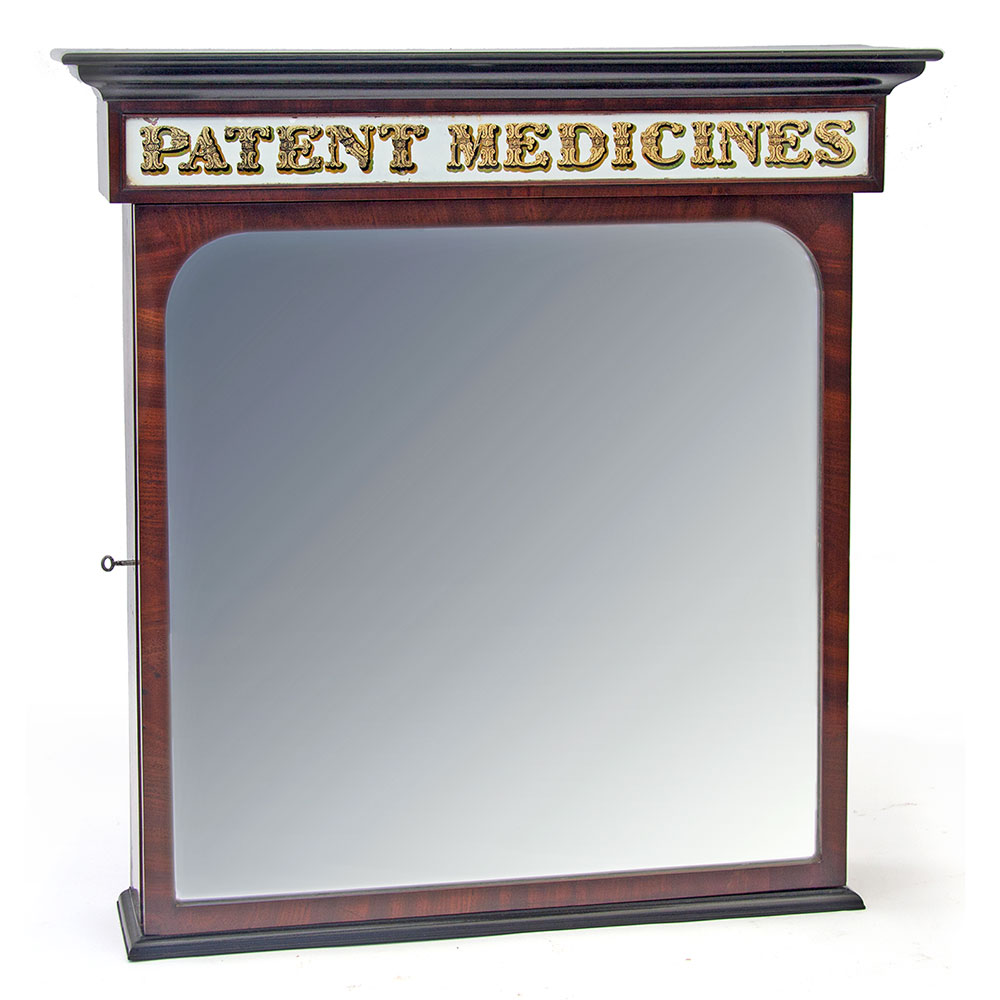 Flame Mahogany Part Ebonised Pharmacy `Patent Medicines` Cabinet with Mirrored Door