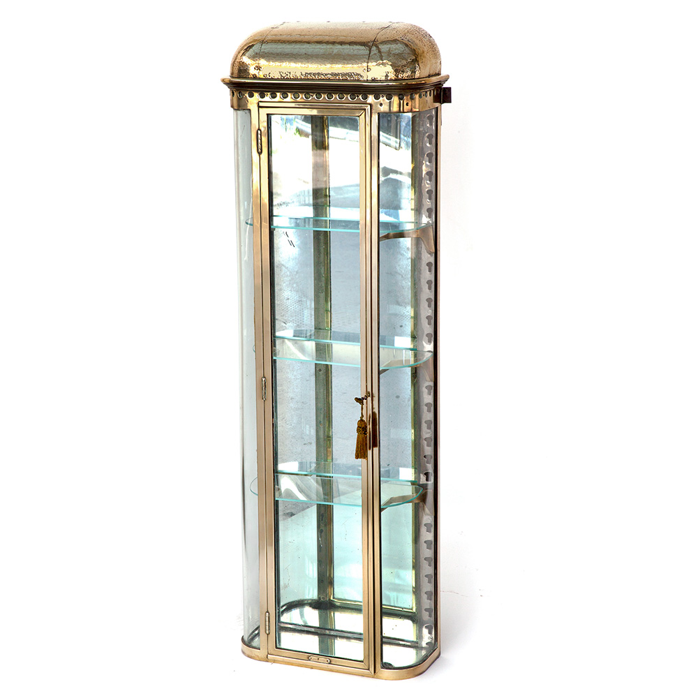 Fabulous Heavy Gauge French Brass Belle Epoque Curved Glass Shop Display Cabinet