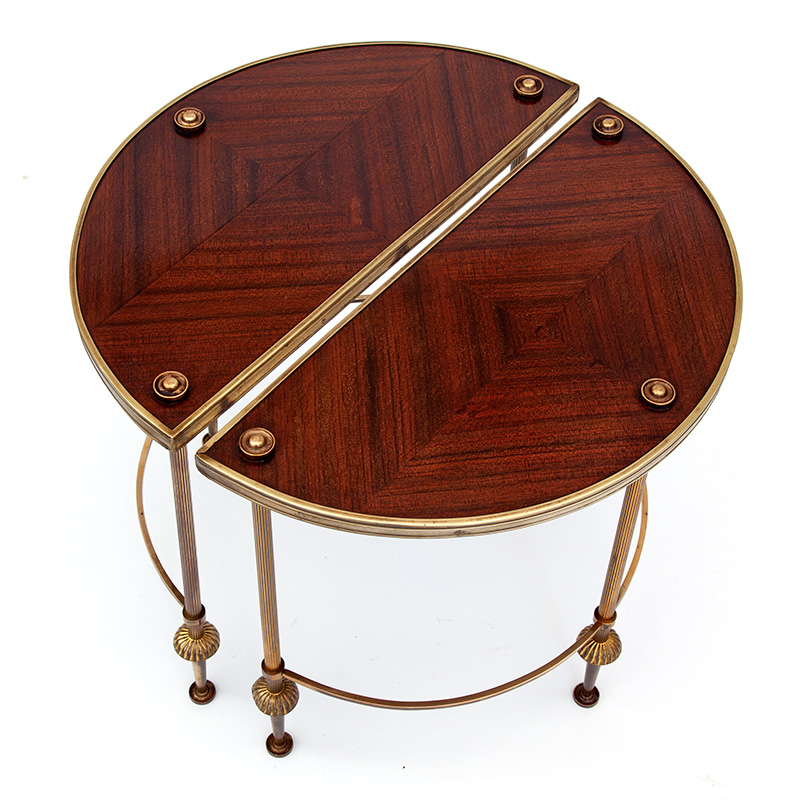 Pair of Brass Demi-Lune Side Tables with Mahogany Veneered Tops