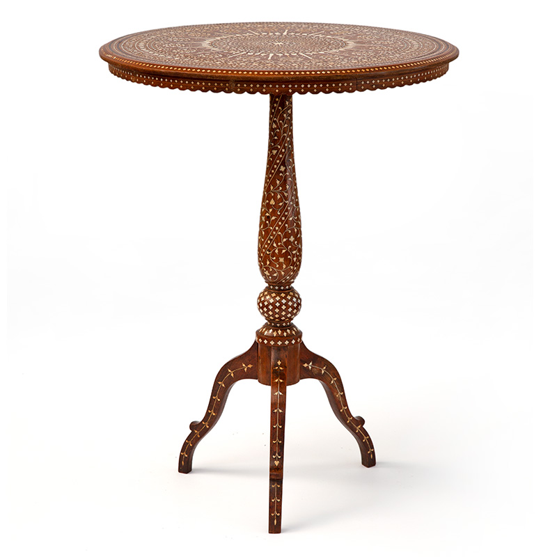 Fabulous and Rare Antique Ebony Inlaid Teak Hoshiarpur Table