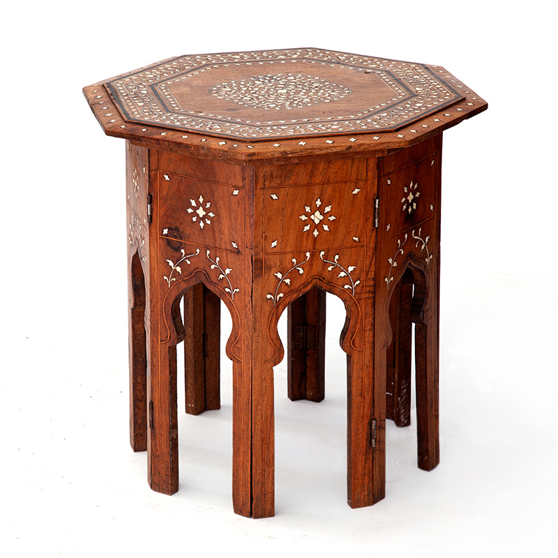 Small antique octagonal folding base sheesham wood Hoshiarpur inlaid table. (c.1900).