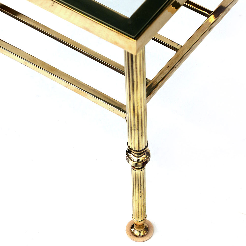 Pair of Regency Style Polished Brass Two Tier Low Tables