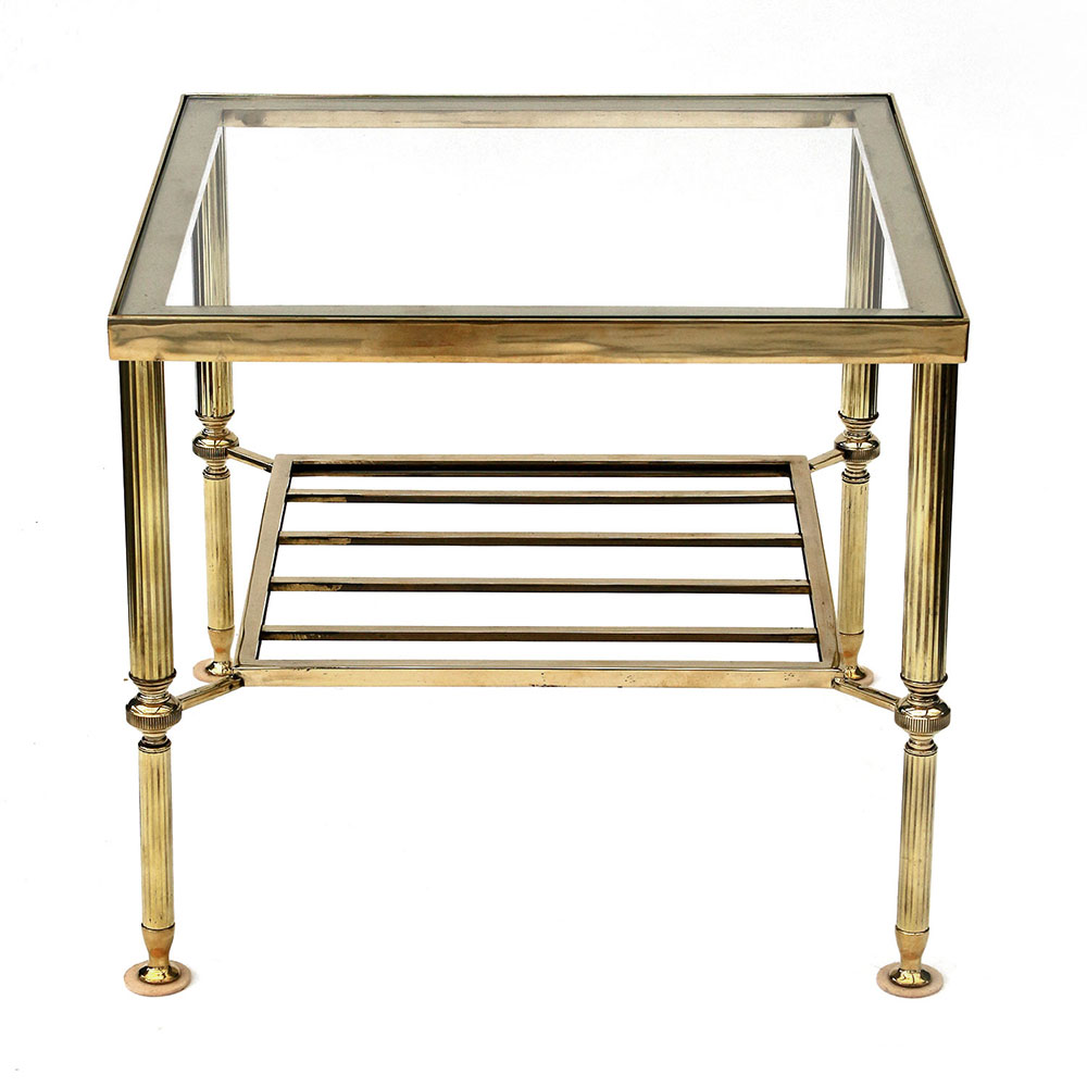 Pair of Regency style polished brass two tier low tables with inset glass tops. Mid 20th century.