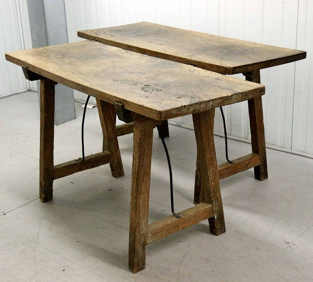 Unrestored Pair of 18th C. Portugese Walnut Tavern Tables