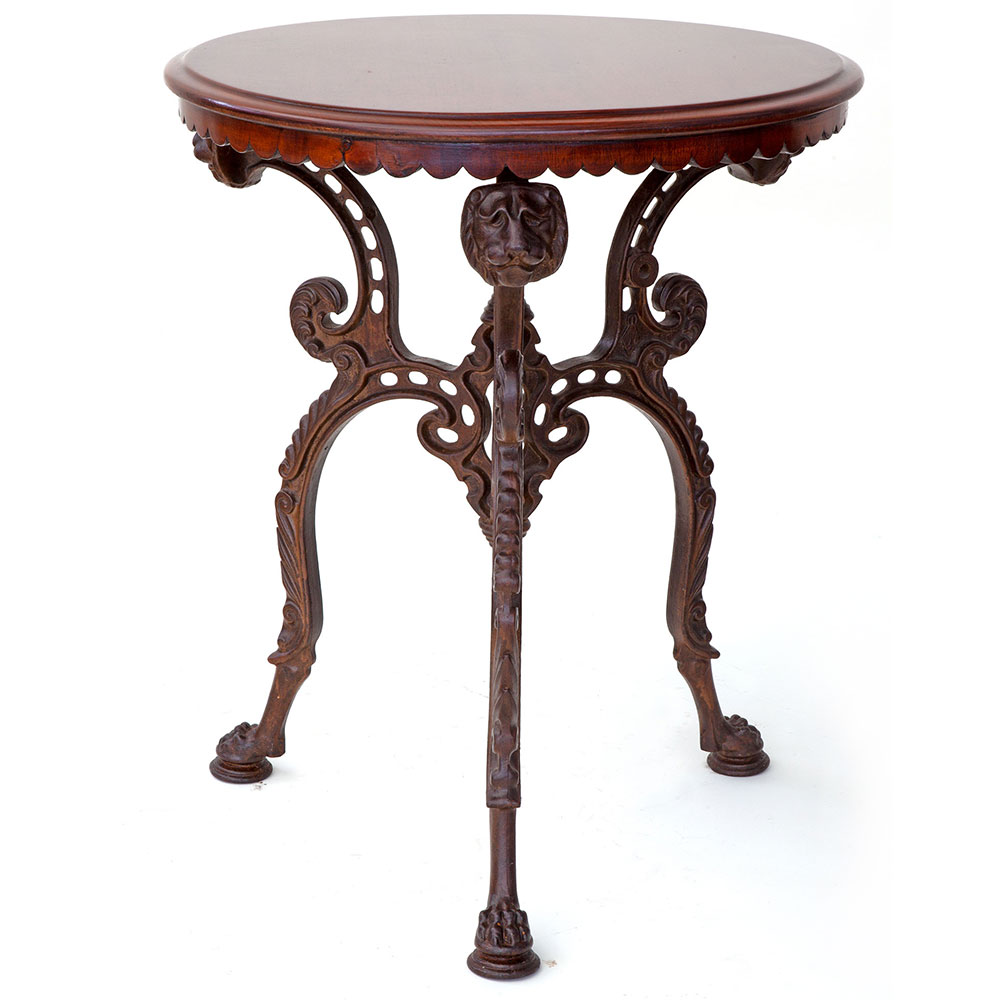 Antique cast iron pub table with Victorian registration lozenge original polished mahogany top. (c.1890)