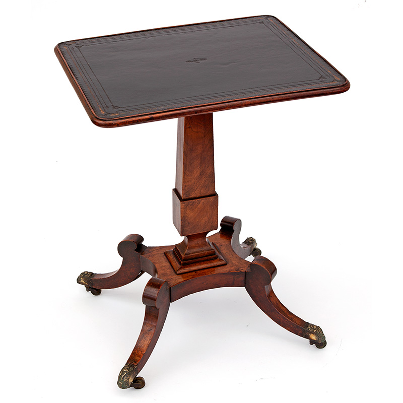 Regency Mahogany Occasional Table with Inset Leather Top