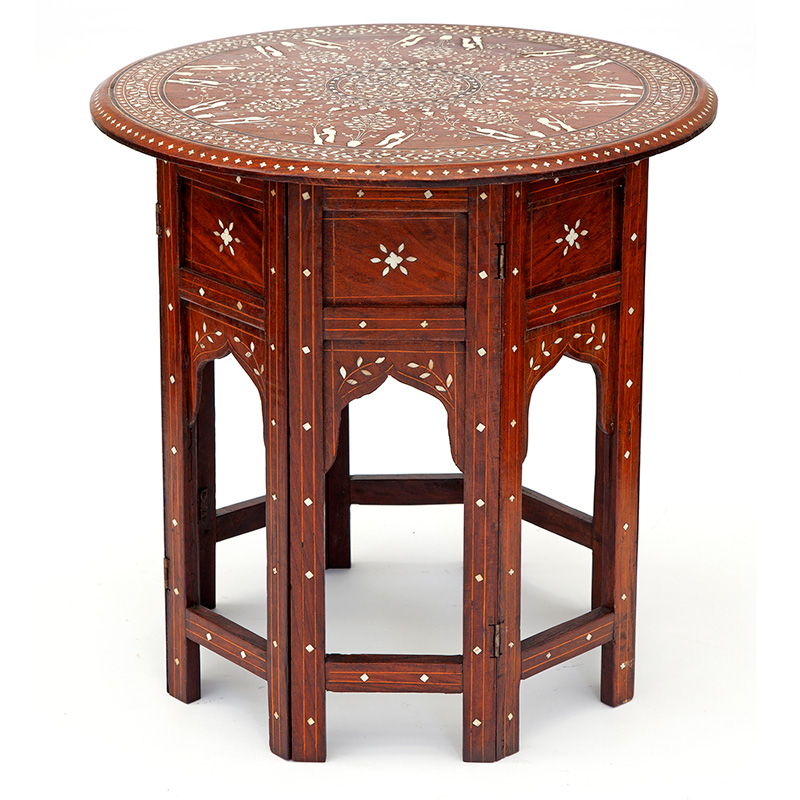 Circular Anglo Indian Hoshiarpur Table with Ivory and Ebony Inlaid Top