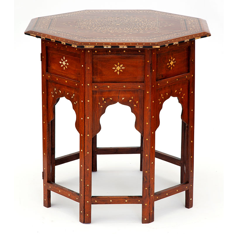 Large antique octagonal Anglo Indian Hoshiarpur table on a folding base with ivory and bone inlaid top. (c.1890)