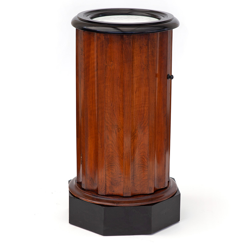 Part Ebonised Mahogany Fluted Pot Cupboard with Inset Marble Top