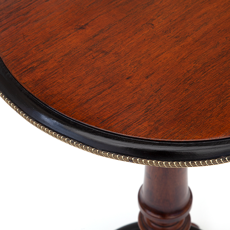 Part Ebonised Walnut Lamp Table with Gadrooned Brass Frieze
