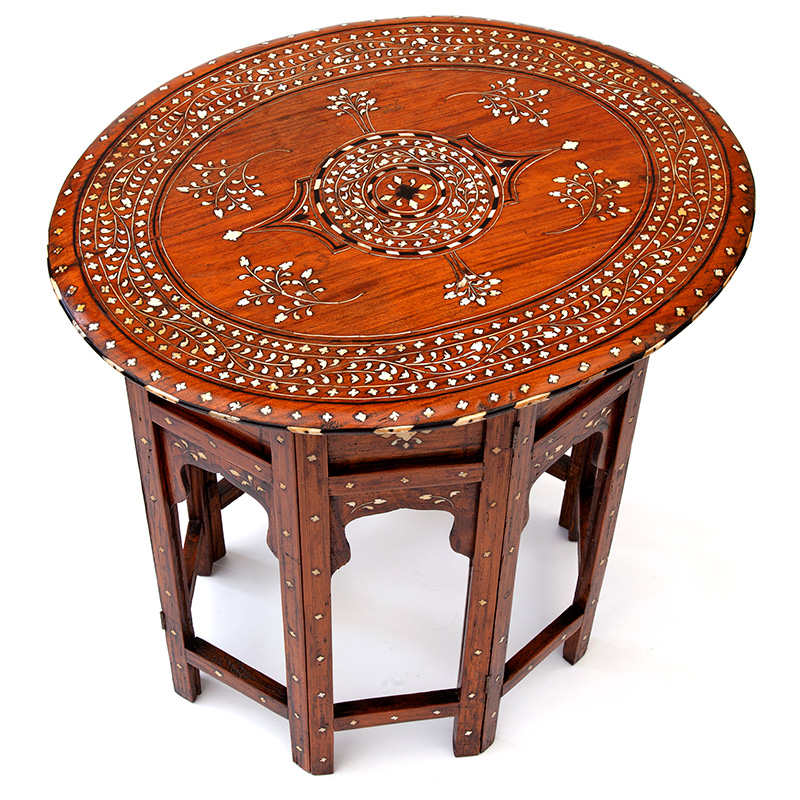 Antique Oval Hoshiarpur Table with Bone and Ebony Inlaid Top