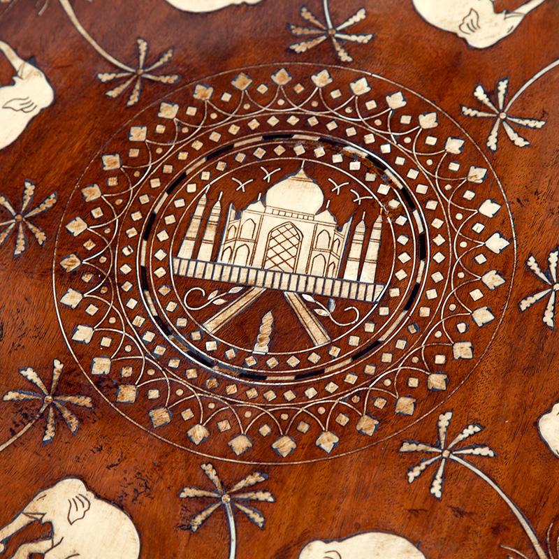 Bone and Ebony Inlaid Teak Hoshiarpur Elephant Tripod Table