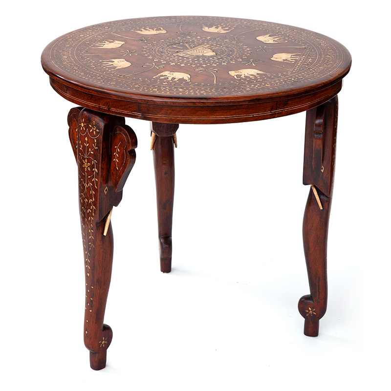Bone and Ebony Inlaid Teak Hoshiarpur Elephant Tripod Table