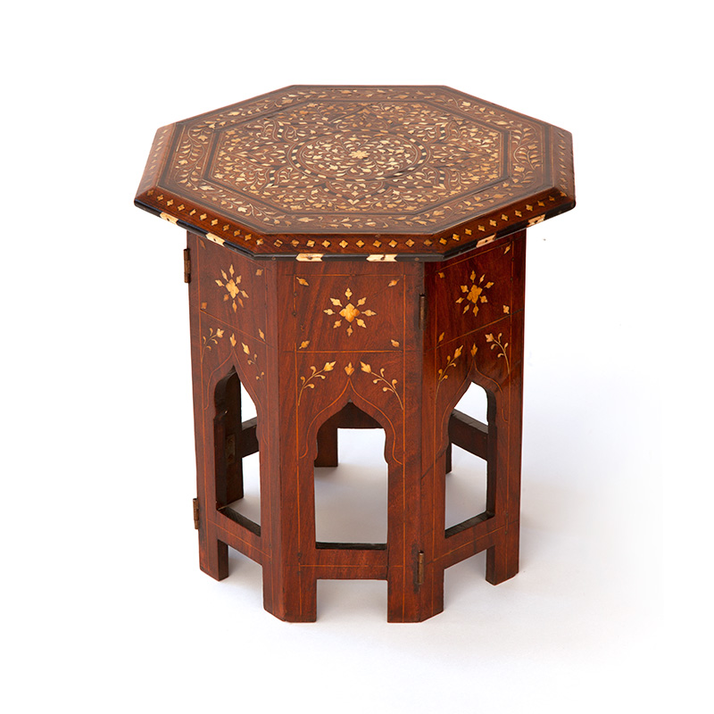 Small Hoshiapur Table with Bone and Ebony Inlaid Top