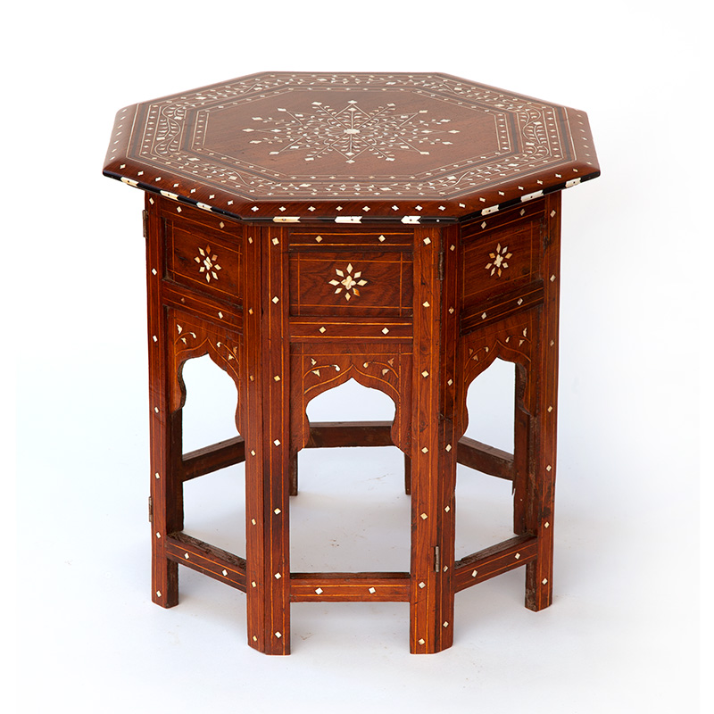 Antique Hoshiapur table with bone and ebony inlaid top (c. 1900).