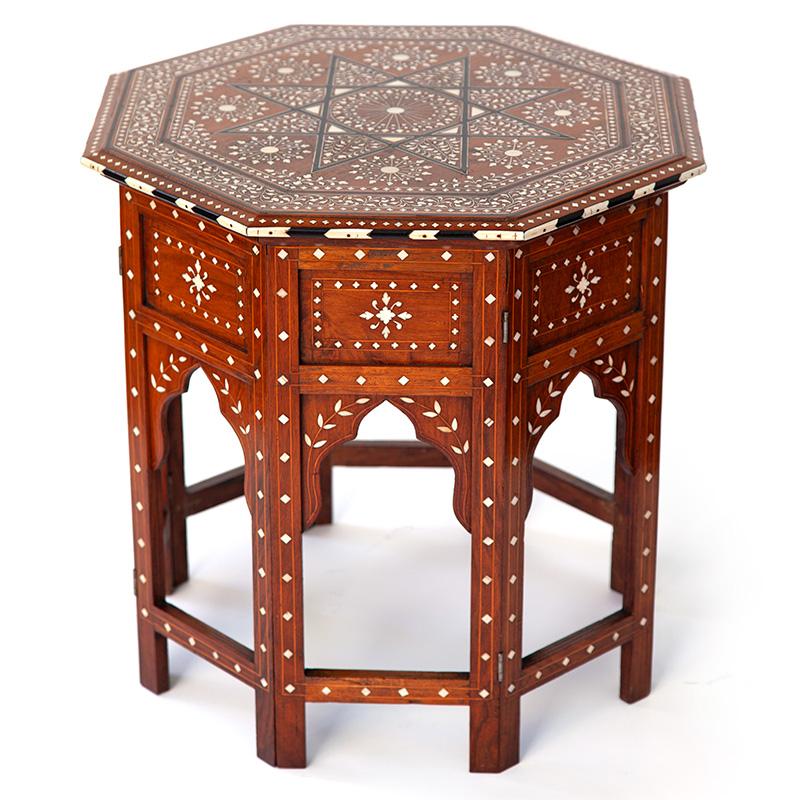 Late Victorian Octagonal Bone and Ebony Inlay Hoshiapur Table