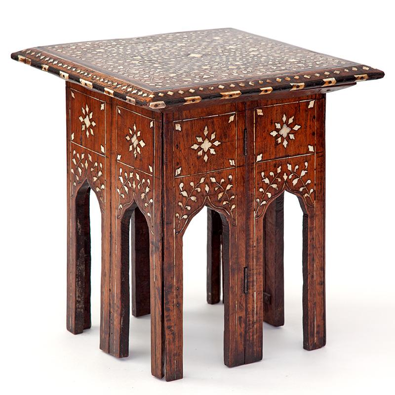 Miniature antique square folding base Sheesham wood Hoshiarpur inlaid table