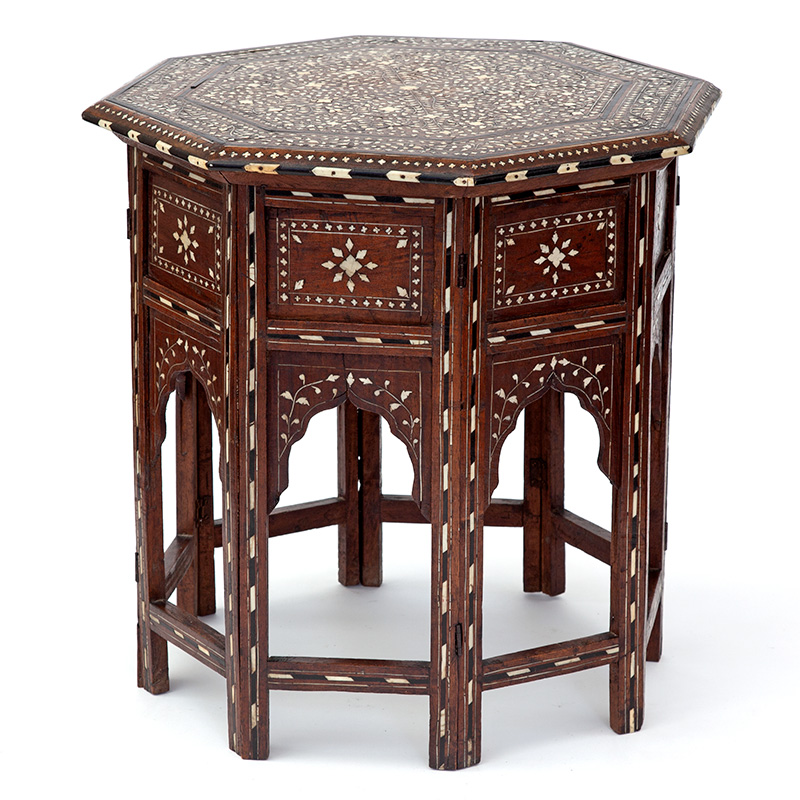 Profuse Seesham wood octagonal Hoshiapur folding table c.1900