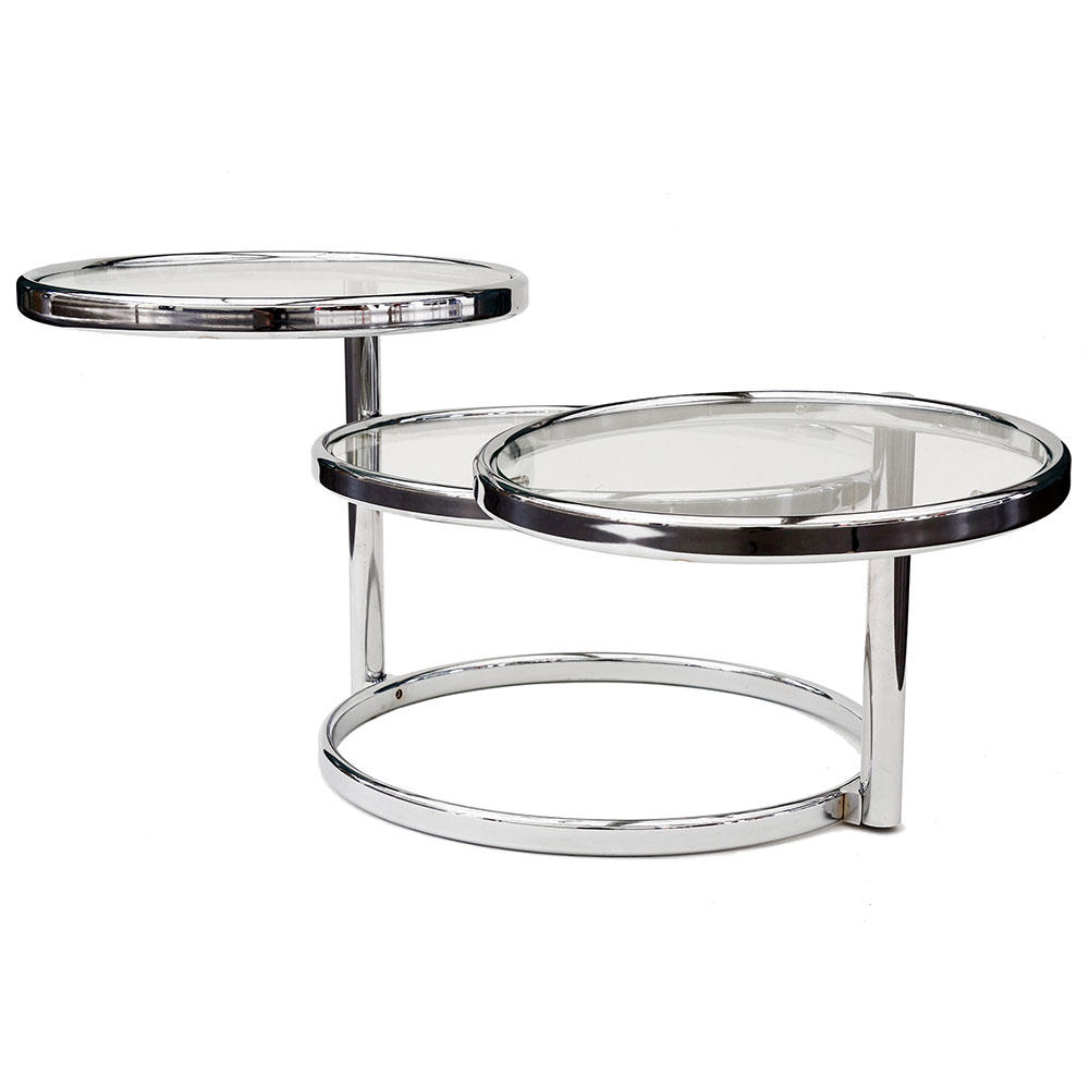 20th C. Swivel Chrome and Glass Table in the Manner of Eileen Grey